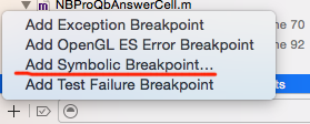 Add Symbolic Breakpoint